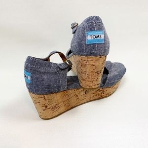 Tom's Denim Espadrilles Wedges Size 9